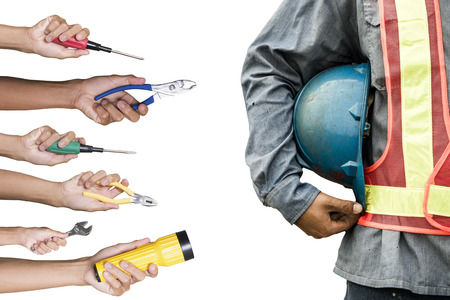 Construction worker with tools isolated white background. Stock Photo