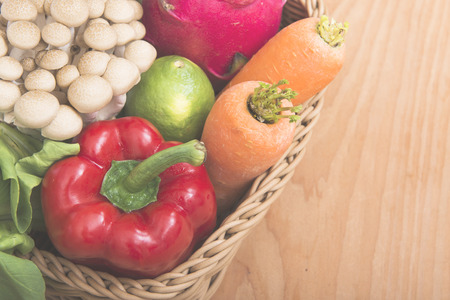 eat healthy: Healthy eating background  studio photography of different fruits and vegetables on old wooden table Stock Photo