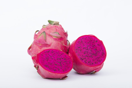 Vivid and Vibrant Dragon Fruit isolated against white background.