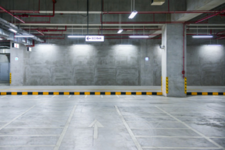 wide open spaces: Abstract background of Indoor parking, shallow depth of focus.