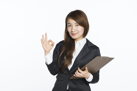 confident business woman: beautiful asian businesswoman portrait with white background Stock Photo
