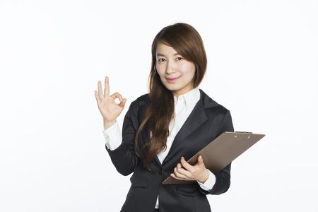mooie Aziatische zakenvrouw portret met witte achtergrond Stockfoto