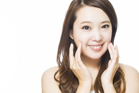 asian style: closeup smiling young beautiful woman face