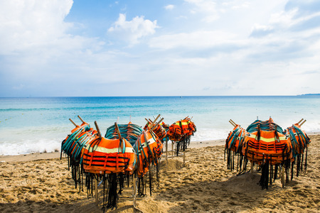lifejacket: Many lifejacket placed on the beach and the coast Stock Photo