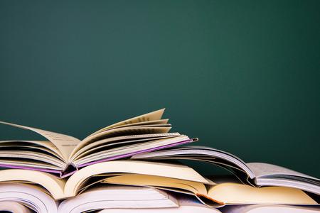 school desk: School books on desk Stock Photo