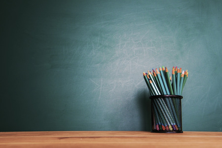 education: Back to school background with tablet, pencils Stock Photo