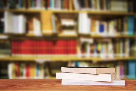 Empty wooden table and modern library background, product display 스톡 콘텐츠