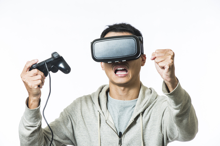 man using the virtual reality headset Stock Photo