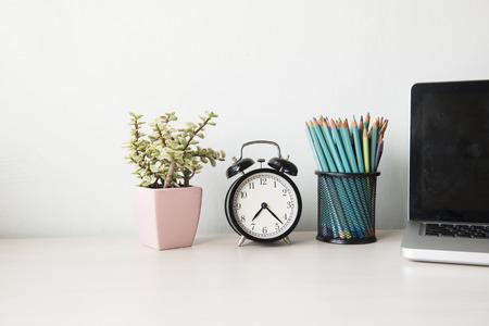 desk work: Business desk  on white table