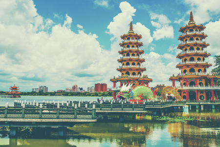 multiples: Local with Chinese-style architectural interest - Dragon Tiger Tower,in Kaohsiung - Taiwan