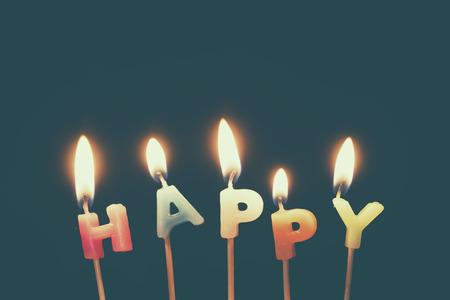alphabetical: Alphabetical candles, happy birthday Stock Photo