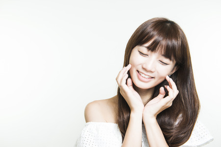 Aziatische vrouw met schoonheid gezicht en perfecte huid