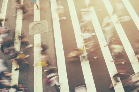busy city: Busy city people on zebra crossing street