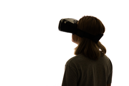 eye pad: Silhouette woman portrait, using the virtual reality headset
