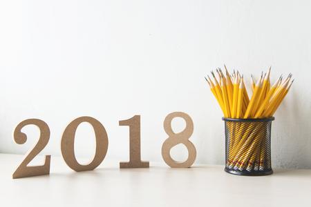 Bonne année 2018 sur un fond blanc Banque d'images - 63489698