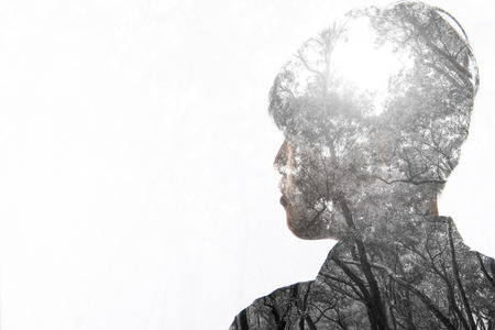 sexual abstract: Double exposure of man