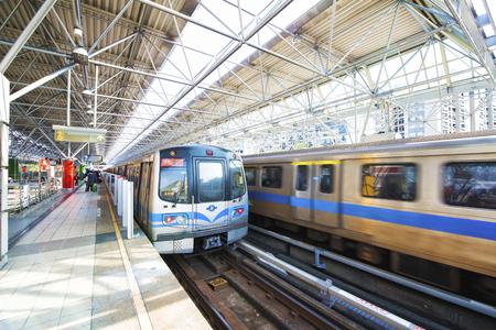 Taipei, Taiwan - March 1, 2016 : Street view of Taipei with metro train .The Taipei MRT is one of the best way to travel around the city.