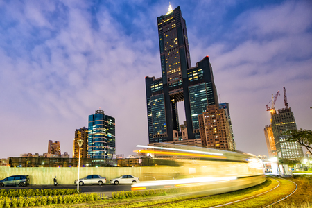 developed: View of the light rail station and the skyline in Kaohsiung, Taiwan Editorial