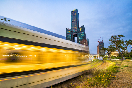 View of the light rail station and the skyline in Kaohsiung, Taiwan Stock Photo