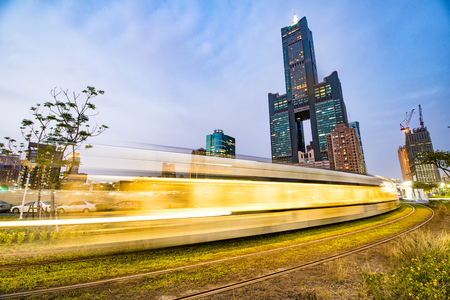 View of the light rail station and the skyline in Kaohsiung, Taiwan Editorial