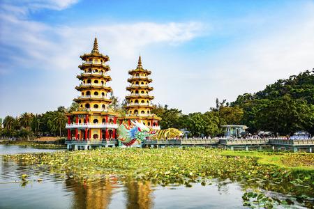Kaohsiung, Taiwan Lotus Ponds Dragon and Tiger Pagodas. Stock Photo