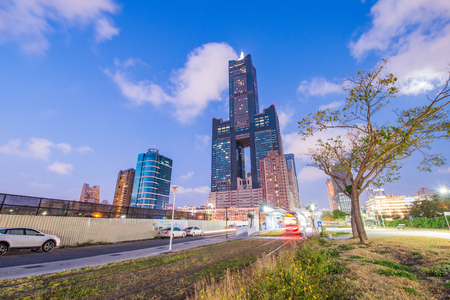 developed: View of the light rail station and the skyline in Kaohsiung, Taiwan Stock Photo