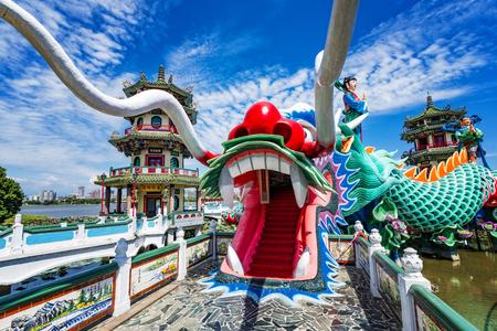 Kaohsiung, Taiwan Dragon Pagodas at Lotus Pond. Фото со стока
