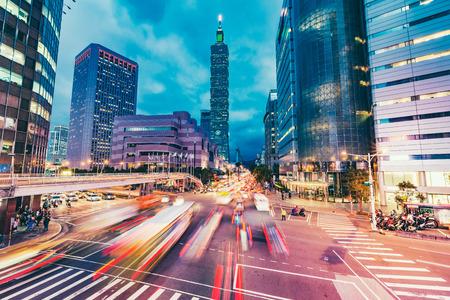 De stadshorizon van Taipeh, Taiwan Stockfoto