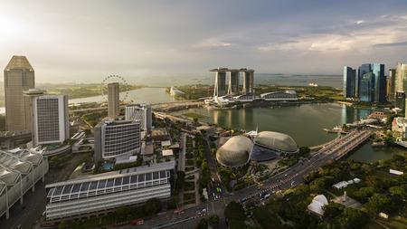 SINGAPORE - CIRCA APRIL 2015: City skyline, Marina Bay and Raffles Place Editorial