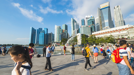 SINGAPORE - CIRCA APRIL 2015: City skyline, Marina Bay and Raffles Place Editorial