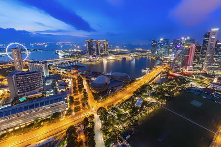 SINGAPORE -  City skyline, Marina Bay and Raffles Place
