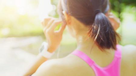 Healthy women running outdoors in park