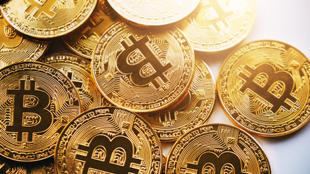 Bitcoin on white background