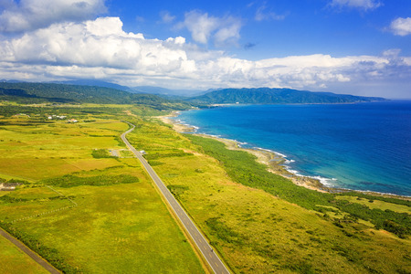 Aerial View Of Kenting National Park Coastline. Taiwan