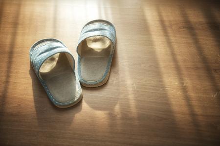 Indoor slippers on wood floor
