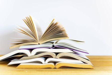 Opened books on white background Stockfoto
