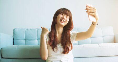 Young Asian Woman Vlog At Home.