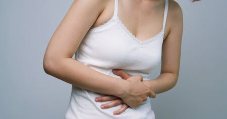 Woman Suffer From Stomachache Stockfoto