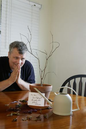 A man praying after realizing that he forgot to water his wife's plant. Stock Photo - 5643401
