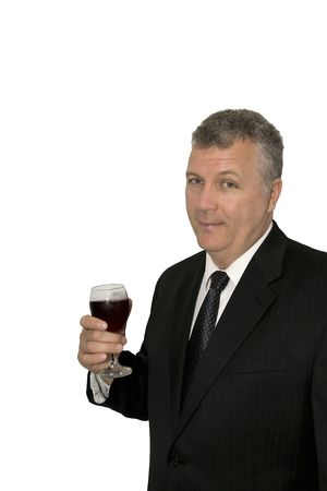Middle-aged businessman toasting with a glass of wine. photo