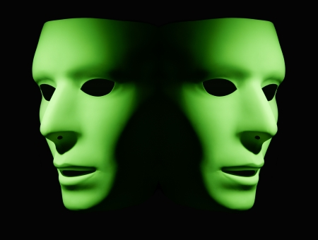 Two green masks facing opposite directions
