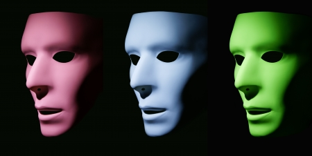 A pink, blue and green mask all facing the same direction