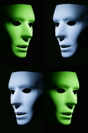 Green and blue mask faces looking different directions against a black background.
