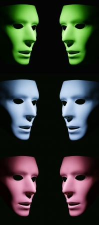 Green, blue and pink masks facing each other on a black background.