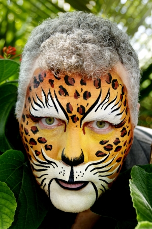 intimidating: Man with his face painted like a leopard peeking out of large leaves. Stock Photo