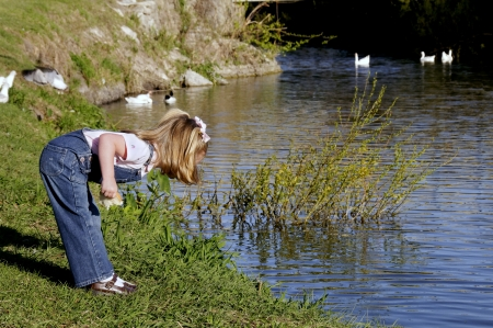 Blond haired child holding a piece of bread and looking into a lake. Фото со стока