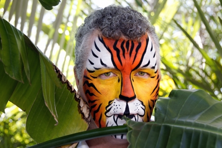 A man painted as a tiger, half hidden behind tropical leaves. photo