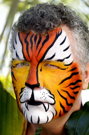 Man painted up like a tiger, looking suspicious. Stock Photo - 16115271
