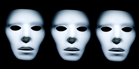 Three white ghost like faces against a black background.