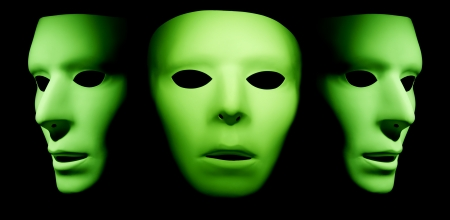 One green alien ghost like face looking forward with two profiles of green faces on the left and right side. Stock Photo